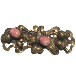 Vintage Art Nouveau Brass Pink Marble Belt Buckle